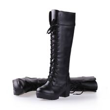 Womens Combat Knee High Boots Lace Ups Block Heels Synthetic Leather Casual Shoe