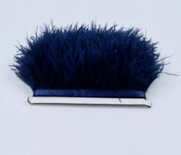 Navy Blue Ostrich Feather Fringe Ribbon Trim Tassel Price for 30cm DIY Craft