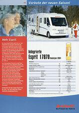 Prospectus Dethleffs voyage mobile 2004 intégrée esprit I 7870 camping-car reisemob