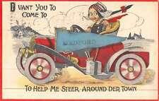 Medford Massachusetts Dutch Child Early Auto Antique Postcard K45189