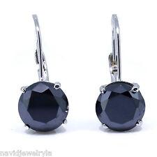 2.00 CT Black Diamond LeverBack Earrings 14k White Gold