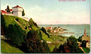 "1909 Mackinac Island, Michigan Postcard ""The Slopes"" Bird's-Eye Panorama View"