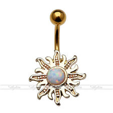 14ga Opalite Stainless Steel Sun Flower Navel Piercing Belly Button Ring Jewerly