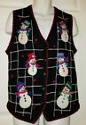 B.P. DESIGN Women's Ugly Christmas Sweater Vest Snowmen Size Medium Black