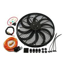 "16"" Universal Electric 3000CFM Black S Blade Fan & Wiring Kit Thermostat 50 AMP"