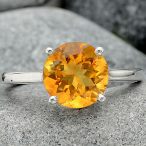 Natural Golden Citrine 925 Sterling Silver Ring s.7.5 Jewelry E502