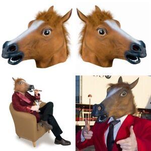 Pferdemaske Braun Pferdekopf Gummimaske Latex Karneval Fasching Horse Mask Ross