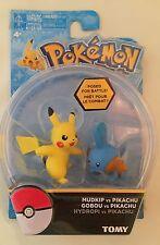 2015 Tomy Pokemon 2 Pack Action Mini Figure Pikachu vs Mudkip New