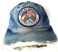 Vintage Polo Sport Hat Ralph Lauren Hat Fitted L Large 90s Patch Mountain Denim