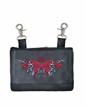 Genuine Leather Belt Bag - Hip Purse  - Red Tribal Butterfly Biker / Motorcycle