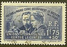 "FRANCE TIMBRE STAMP N° 402 "" PIERRE MARIE CURIE RADIUM 1F75+50c "" OBLITERE TB"