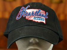 HEARTLAND BASEBALL CLASSIC VINTAGE BLACK FITTED BASEBALL HAT CAP ONE SIZE