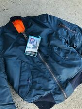 Vintage Alpha Industries MA-1 Navy blue Flight Bomber Jacket X-small USA Made