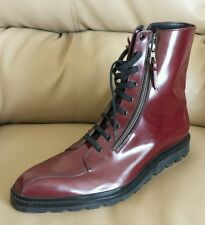 RARE👔BALLY JORON LUXURY Boots Men's Leather New Sz 11-D Red Maroon NWT $ 1,500