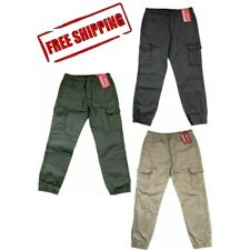 Unionbay Boys Youth Jogger Cargo Pull-On Cotton Pants Beige Gray Green Xs S M L