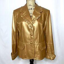 St. John Lamb Leather Jacket 12 Bronze Brown Button Front Ruffle
