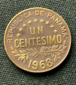 1968 Panama Un Centesimo Coin XF+   Bronze World Coin     #K1361