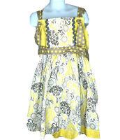 Knock Knock Girls Sz 6 Apron Dress Yellow Gray Floral Knot Summer