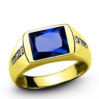 MENS RING Blue Sapphire and 8 Diamond Accents in Real 14K Yellow Solid Fine Gold