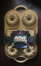 Nordicware 3.5 Cup Geo Bundtlette Pan Gold Color