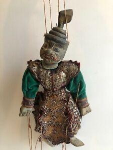 "Antique BURMA BURMESE Handcarved Wooden Puppet Marionette Doll, 22"" T w/Handle"