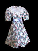 Vtg 80s SARAH KENT Girl DRESS VICTORIAN Floral Tea Party HEIRLOOM Lace Collar 10