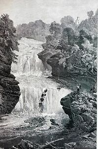 Cora Linn 1888 WATER FALLS of CLYDE LANARK Landscape Antique Matted Engraving