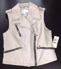 NEW BAR III Faux Leather Vest Small Smoke Grey Shirt Jacket Black Biker Zip Coat