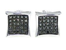 Mens Ladies White Gold Finish Black Diamond Kite Stud Earrings 8 mm