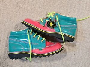 Vintage Bright Neon Kickers Boots Size 39