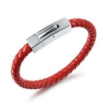 Red leather bracelet with square clasp personalised free engraving gift boxed