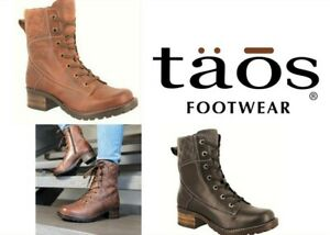 Taos Shoes leather lace up boots with zip on low heel - Taos Footwear Factor