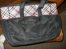 Eddie Bauer Diaper Bag Black With Brown Checked Top And Changing Pad