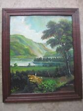 ALLEN LONDON, OIL ON BOARD PAINTING SIGNED - NAIVE HUDSON RIVER VALLEY