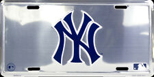 NEW YORK YANKEES CHROME LICENSE PLATE NY LOGO CAR TRUCK TAG SIGN MAN CAVE AUTO