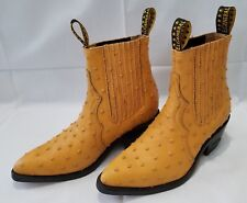 Mens Size 27MEX Yellow El General Exotic Ostrich Leather Cowboy Ankle High Boots