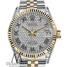 36mm Rolex Datejust Roman Numeral Diamond Dial Stainless Steel & 18k Gold