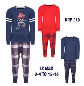 UNISEX Boys Girls Kids Christmas Xmas PJs Pyjamas Long Sleeve PJ Gift Cotton
