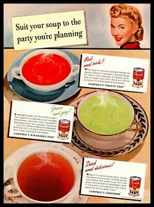 """1942 Campbell's """"Green And Gay!"""" Asparagus Soup Full Color Vintage Print Ad"""