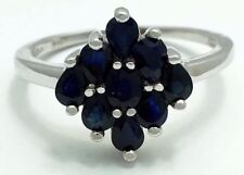 GENUINE 1.85 Cts BLUE SAPPHIRE RING 10k White Gold * FREE Appraisal Service