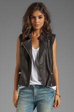 MAISON SCOTCH & Soda Black Soft Leather Biker Moto Asymmetrical Zip Vest P/XS