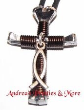Disciple's Cross Horseshoe Nail Necklace - Wire Wrapped Cross - Christian Fish