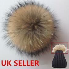 UK New 10cm/12cm Brown Handmade Stud Faux Fur Pom Bobble Pompom For Hat Cap