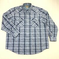 Duluth Trading Co Armachillo Western Pearl Snap Mens Blue Plaid Vented Shirt