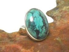 Oval  TURQUOISE   Sterling  Silver  925  Gemstone  RING  -  Size: K