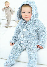 Babies Birth-2 yrs Easy Snuggly All In One Hoodie 2 designs DK Knitting Pattern