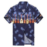 Made in Hawaii Men Hawaiian Shirt Cross Ukulele Music in Navy