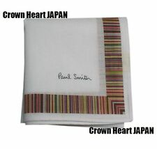 Paul Smith Handkerchief Pocket Square White Multi Stripe frame Japan-Made 44cm