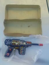 VINTAGE MARS GUN JAPAN H-2569 2 BARREL TIN TOY SPACE RAY ASTRONAUT ORIGINAL BOX