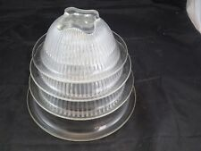 4 Vintage Clear Federal Depression Glass Nested Mixing Bowls Nice